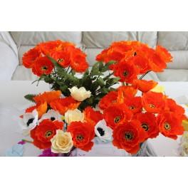 Bulk order of orange crepe paper flowers and leaves